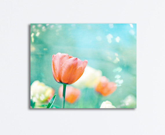 Aqua Orange Tulip Flower Canvas by carolyncochrane.com