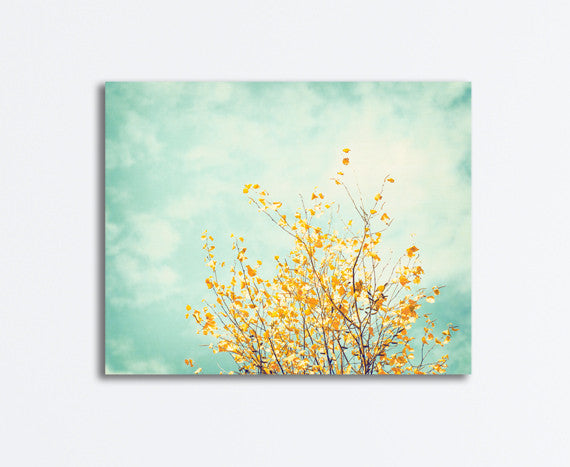 Mint Yellow Nature Decor, Canvas Photography by carolyncochrane.com