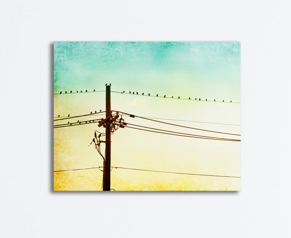 Yellow Mint Bird on Wire Wall Decor by carolyncochrane.com