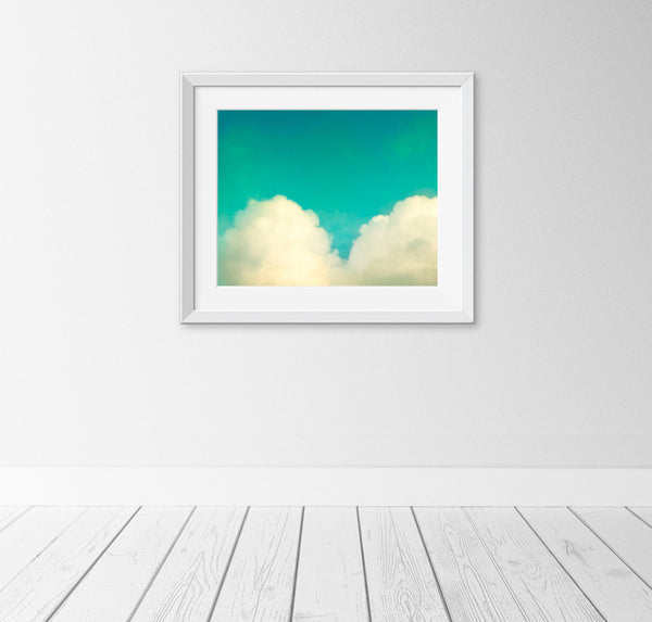 Teal Heart Shaped Cloud Art by carolyncochrane.com