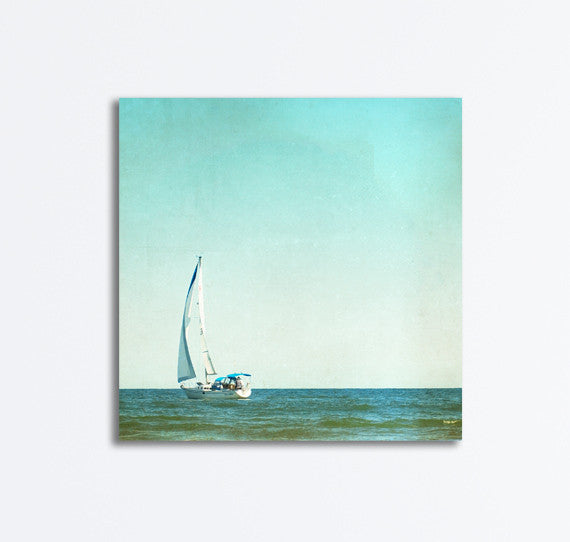 Blue Sailboat Photography Canvas by carolyncochrane.com