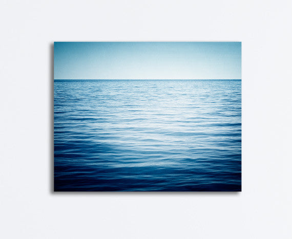 Dark Blue Minimal Ocean Canvas Photography by carolyncochrane.com
