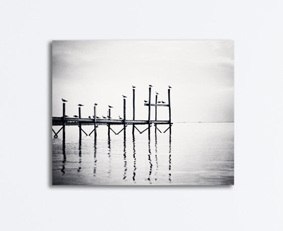 Black and White Coastal Canvas by carolyncochrane.com