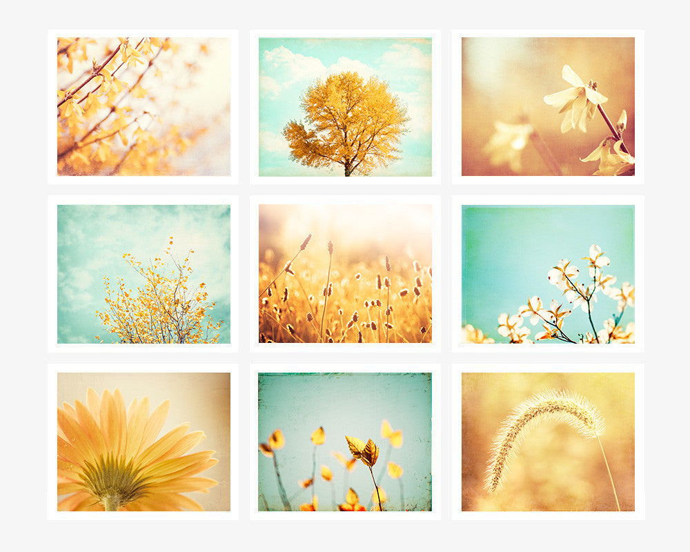 Yellow Teal Nature Art Set | Yellow Mint Pictures – Carolyn Cochrane ...