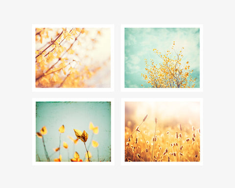 Mint Green Yellow Nature Art Set by carolyncochrane.com