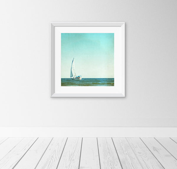 Blue Sailboat Art Photography by carolyncochrane.com