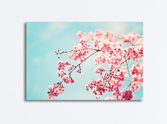 Pink Blue Floral Canvas Art by carolyncochrane.com