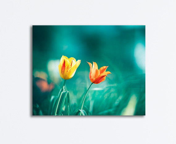 Teal Orange Flower Canvas Art by carolyncochrane.com