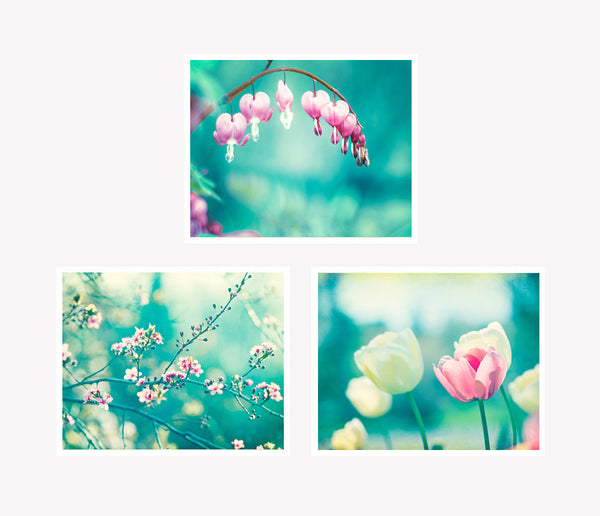 Teal Pink Floral Nature Art Set by carolyncochrane.com
