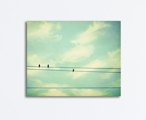 Mint Bird on Wire Canvas by carolyncochrane.com