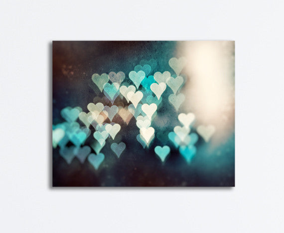 Teal Abstract Hearts Canvas by carolyncochrane.com