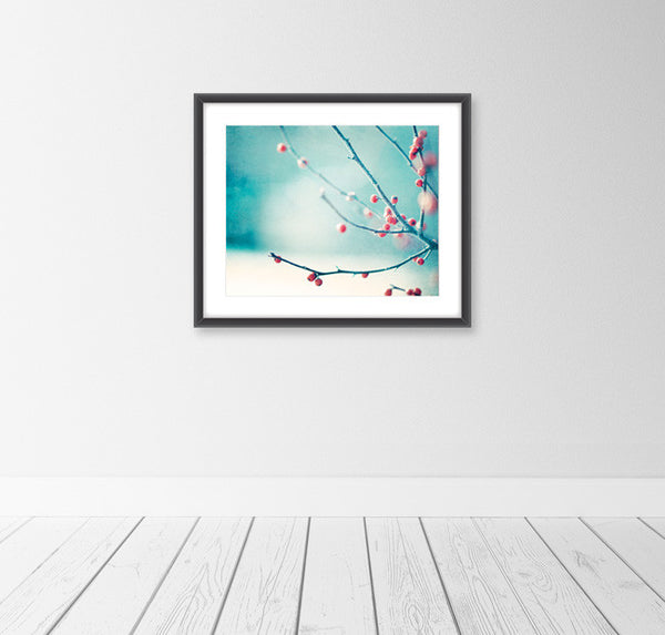 Winter Photography Prints by carolyncochrane.com | Blue Red Berries