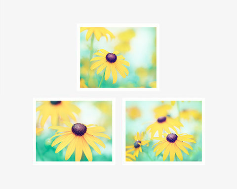 Yellow, Mint Flower Prints, Set of 3