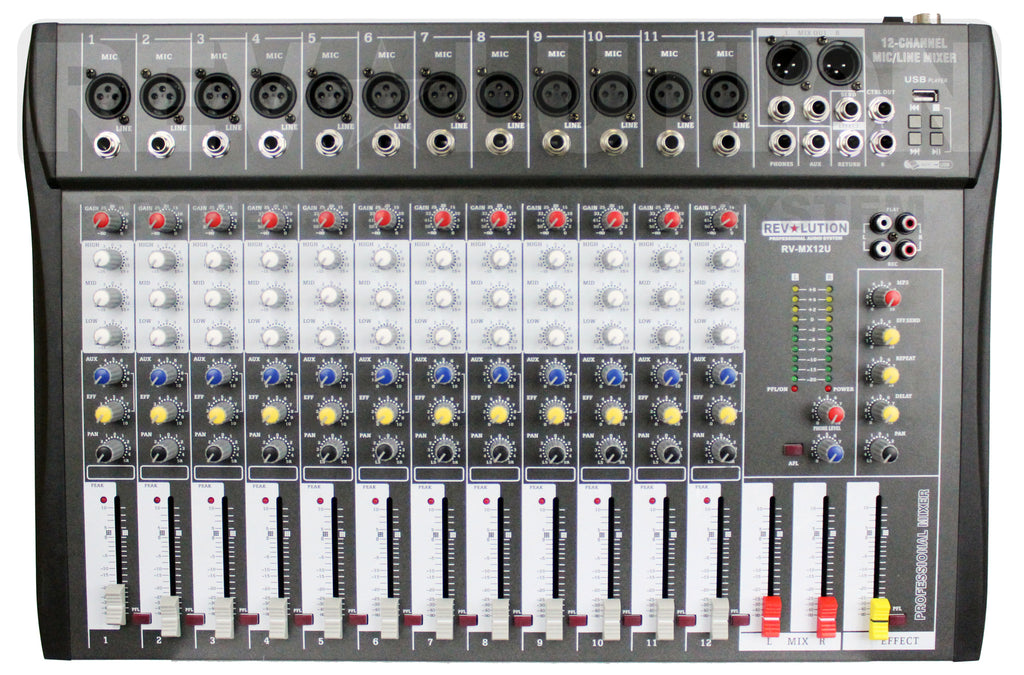 RV-M12U 12CH Mixer with USB player - REVOLUTIONPRO