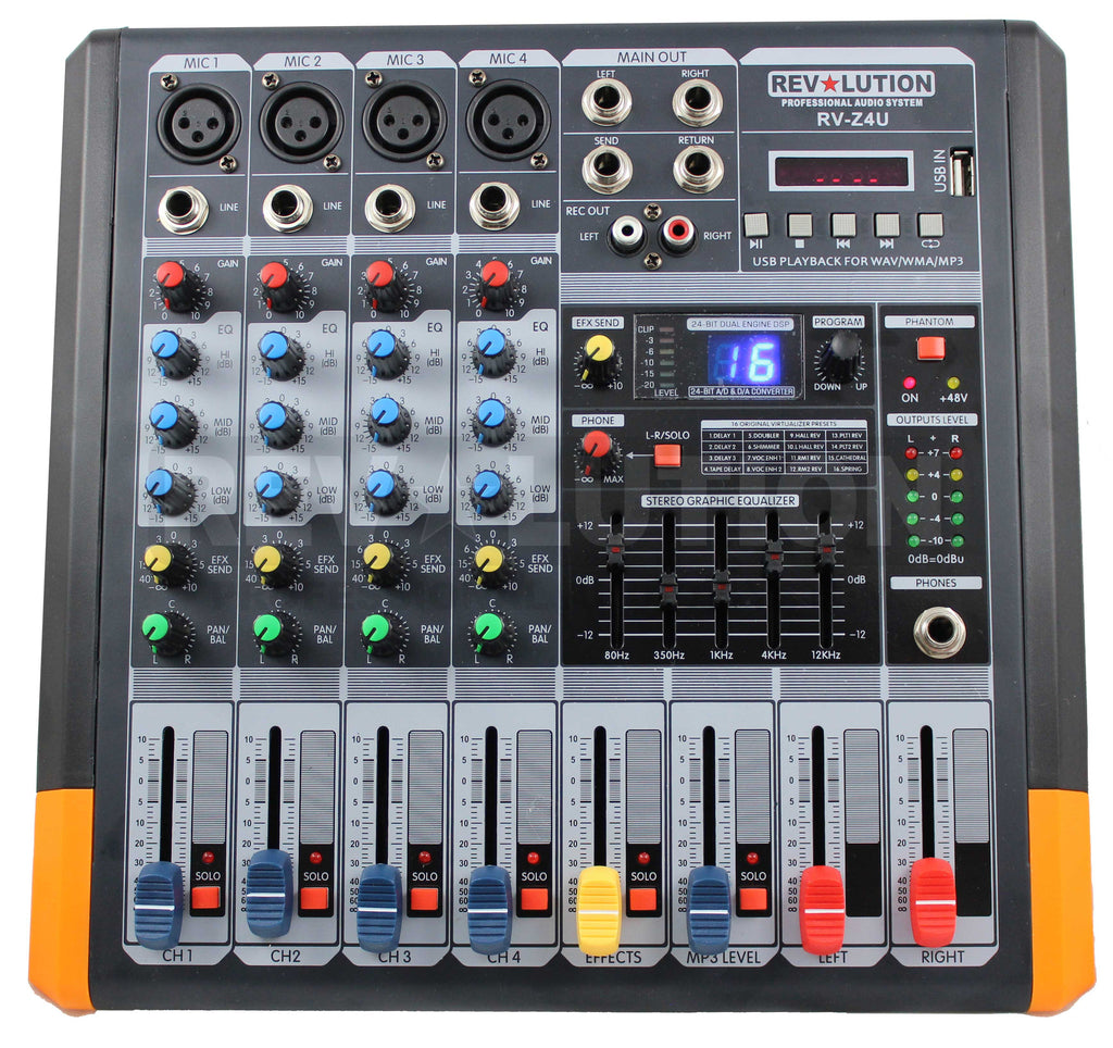 RV-Z4U 4CH Mixer with USB player - REVOLUTIONPRO