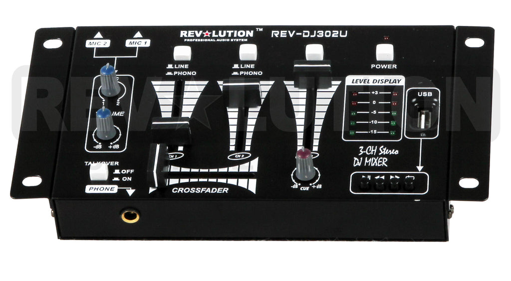 RV-DJ302U 3CH UltraPortable Mixer with USB/SD player - REVOLUTIONPRO