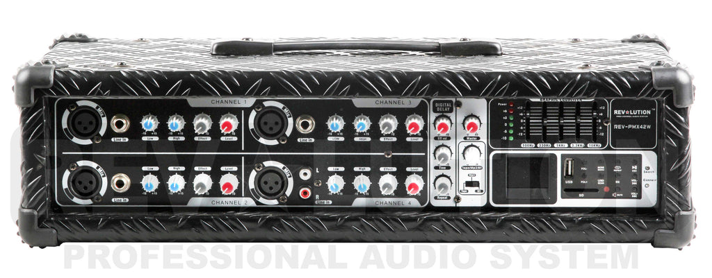 RV-PMX42 Powered 4CH Mixer with USB player - REVOLUTIONPRO