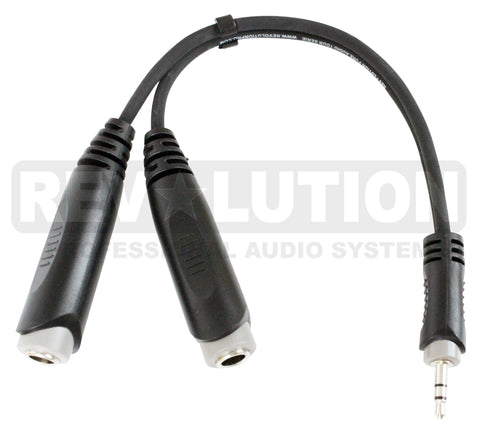 """Y"" Audio Cable OFC Balanced with Revolution Connectors, 1x[3.5mm Stereo Male] to 2x[1/4'' (6.3mm) Stereo Female] - REVOLUTIONPRO"