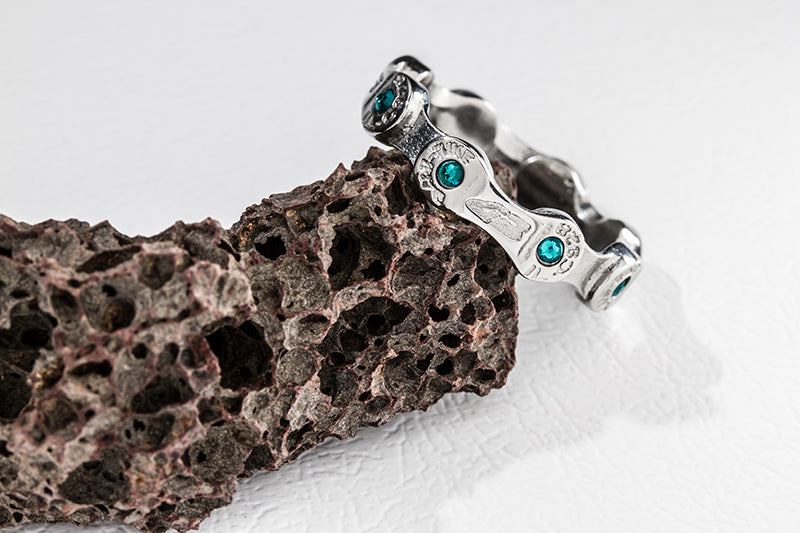 MINI LINK CHAIN RING-BLUE ZIRCON STONES