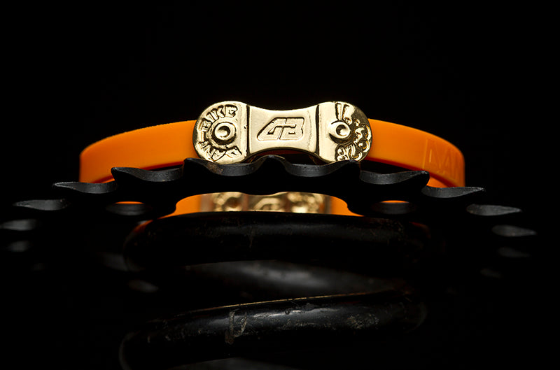 MEN'S DANI BIKE LINK ORANGE BRACELET-SILVER