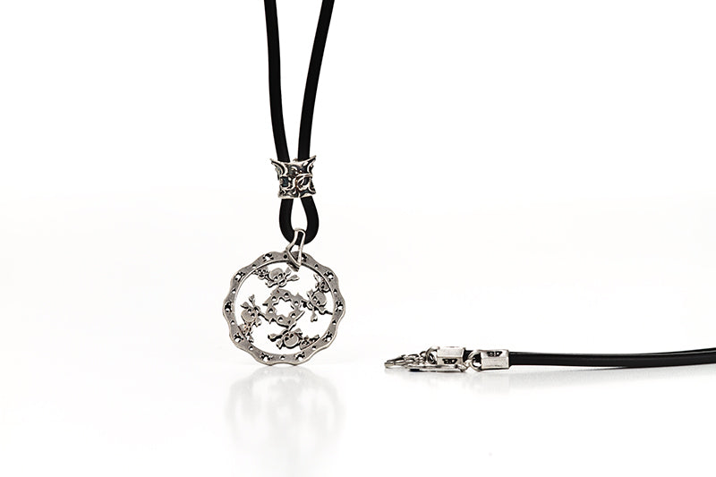 SKULLS DISC BRAKE NECKLACE-SILVER