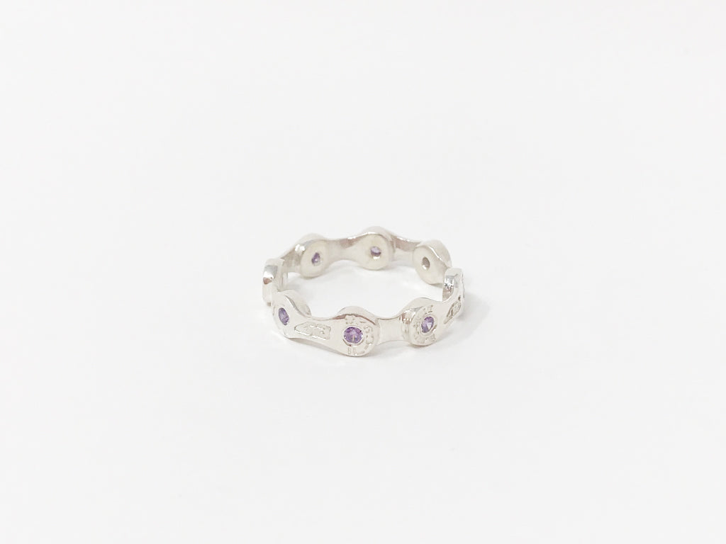 MINI LINK CHAIN RING-AMETHYST CZ STONES-SILVER