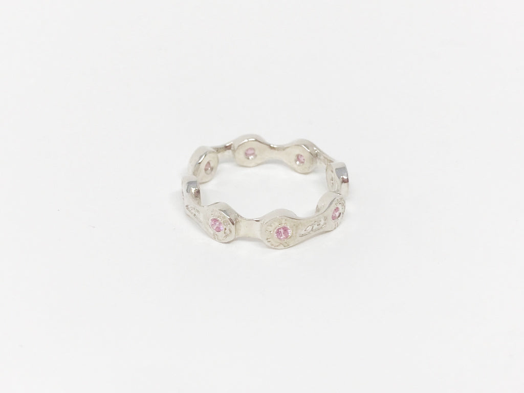 MINI LINK CHAIN RING-ROSE CZ STONES-SILVER