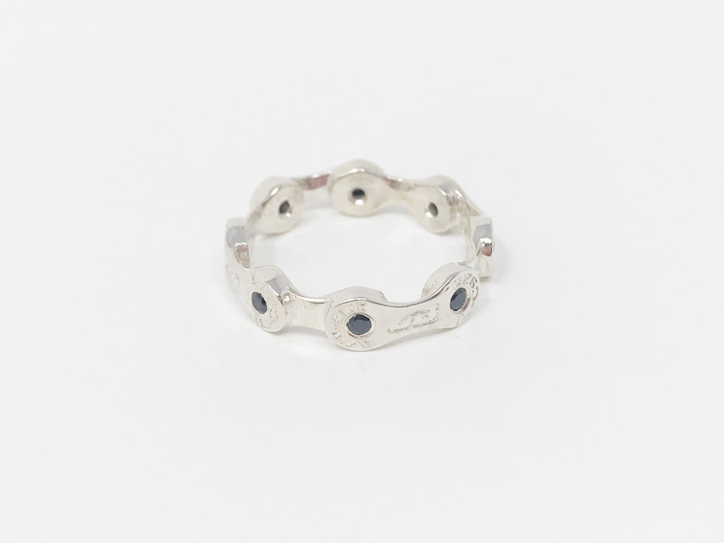Mini Link CHAIN RING-BLACK CZ STONES-SILVER