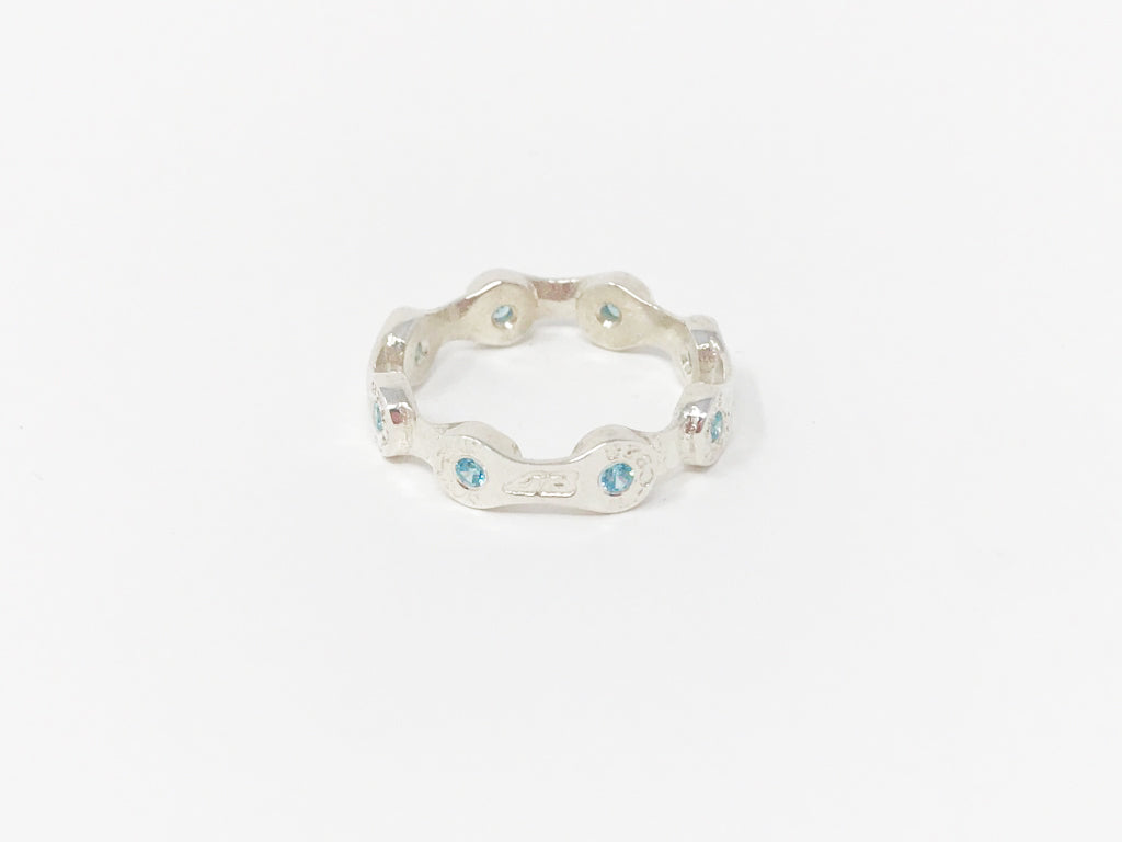 MINI LINK CHAIN RING-BLUE CZ STONES-SILVER