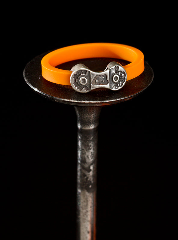 MINI DANI BIKE LINK ORANGE RING-SILVER