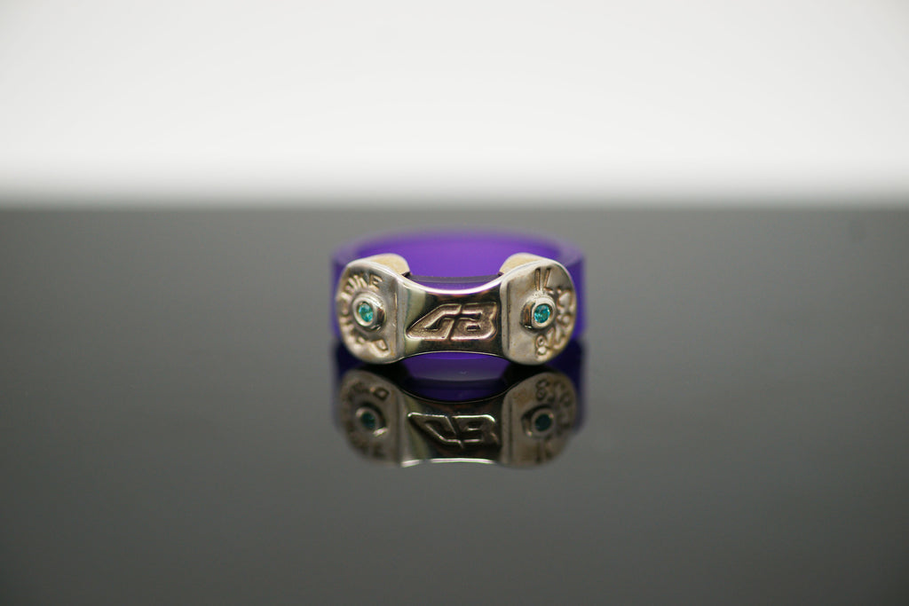 DANI BIKE LINK PURPLE RING (WITH BLUE CZ STONES OR ROSE CZ STONES)