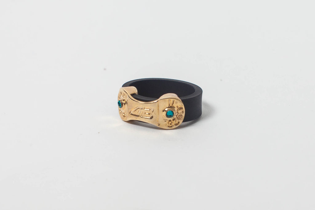 DANI BIKE LINK BLACK RING -WITH BLUE ZIRCON OR LIGHT SIAM STONES
