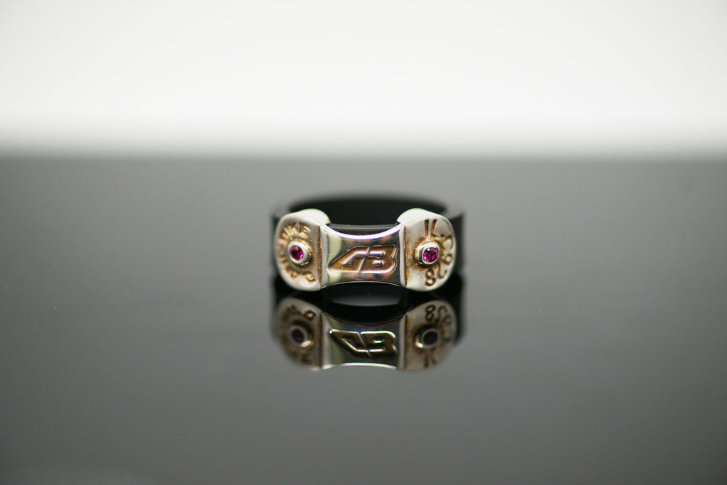 DANI BIKE LINK BLACK RING (WITH RUBIS CZ STONES)