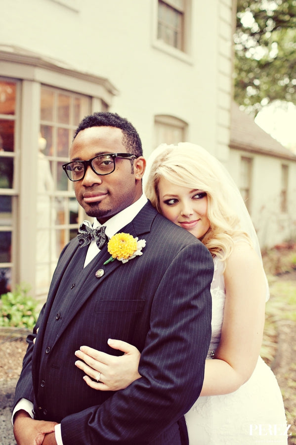 Interracial Bride groom backyard wedding