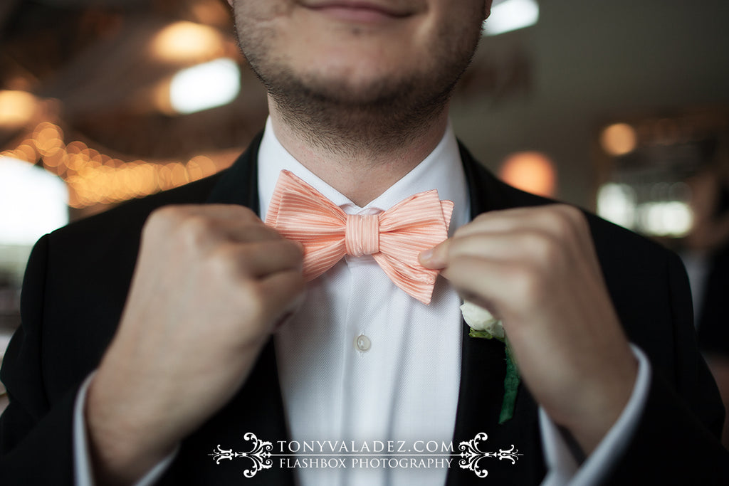 peach bowtie formal wedding handtie groom