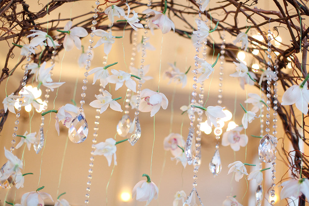 crystals orchids hanging wedding decorations design style