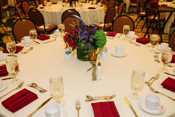 Red, Purple and Green Centerpiece for Wedding or Corporate Event - Table Setting