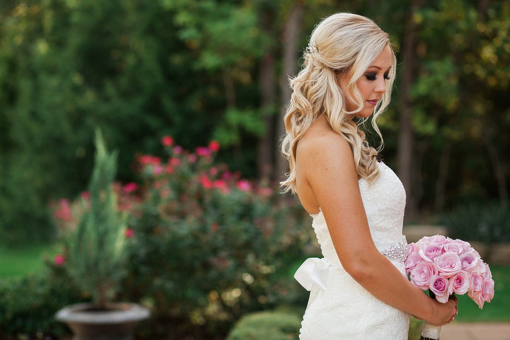 Bridal Shot, White Strapless Gown, Pink Bouquet, Garden Shoot