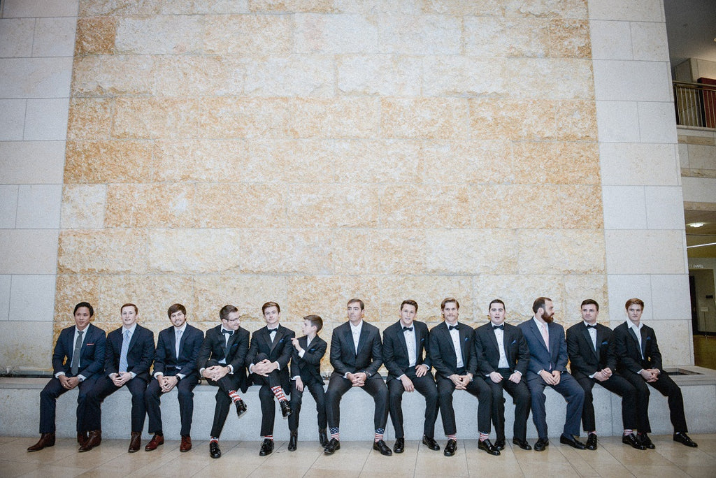 Groomsmen wearing a tux, groomsmen photo idea