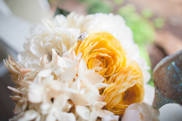 Cream and Yellow Bridal Bouquet, Wedding Flowers, Engagement Ring