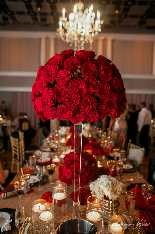 tall red rose wedding centerpiece gold sequin linen