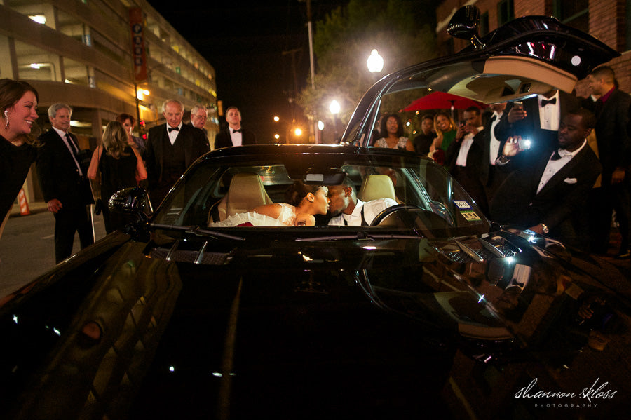 SLS AMG Mercedes Wedding Exit Car Kissing