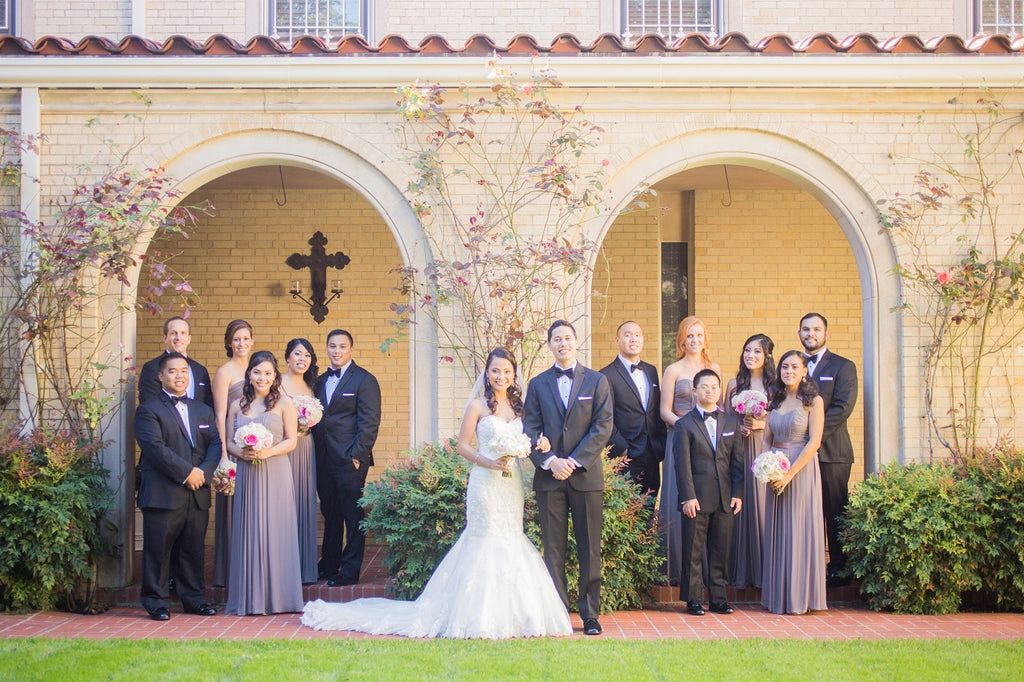 Bridal party outdoor wedding outside a catholic church dallas tx