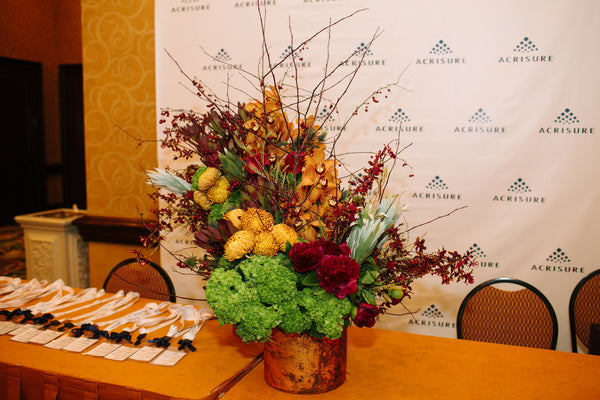 Warm Colored Flower Arrangements, Registration Table