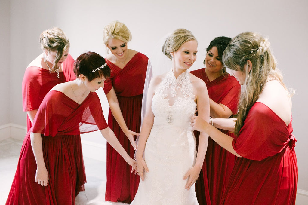 Red Bridesmaid Dresses, White Lace Wedding Gown, White Veil, Bridal Updo