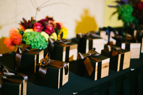 Gift Boxes Wrapped Nicely in Brown Satin Ribbon, Fall Flowers