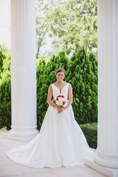 Lone Star Mansion Bridals, Blush Bouquet, Couture Wedding Gown