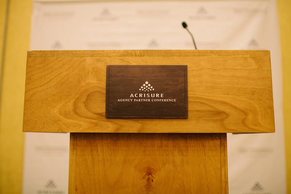 Custom Wood Podium with Custom Sign for Corporate Event