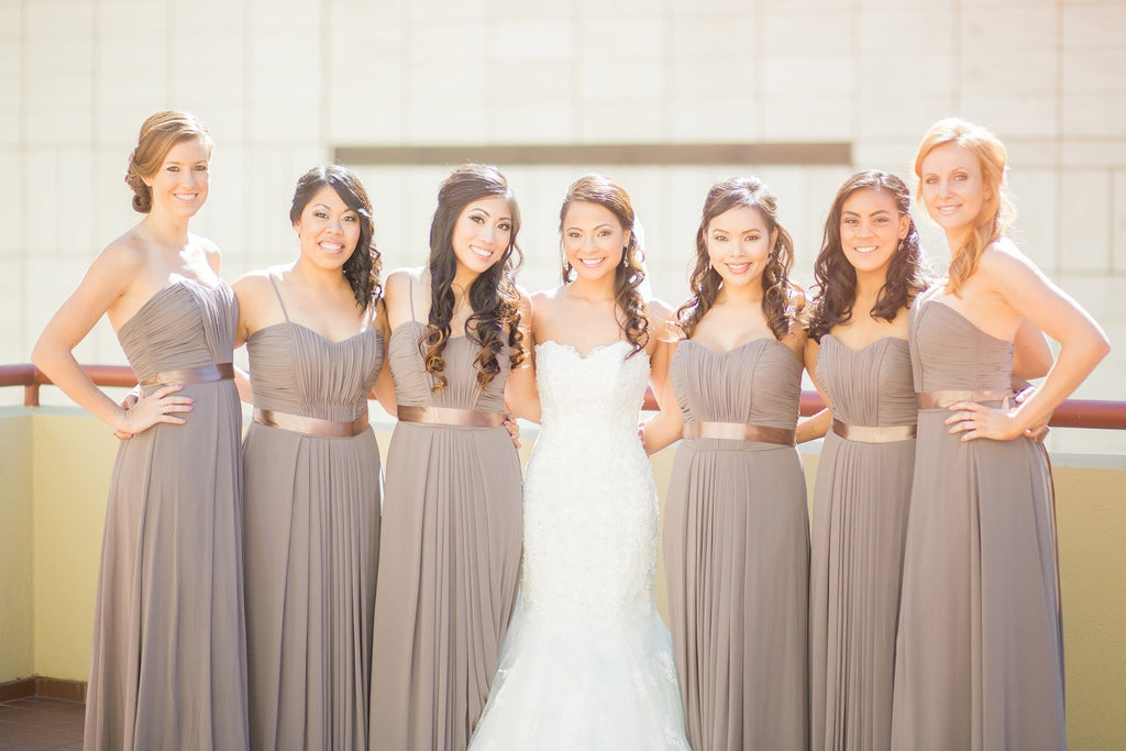 Slate grey bridesmaids dresses with the bride