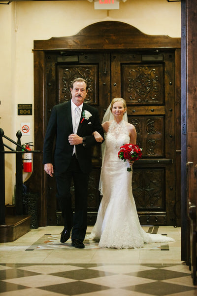 Chapel Ceremony, White Lace Bridal Gown, Red Roses, Black Tux